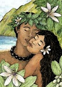 Наупака и Кауи, акварель.  Худ.Джоанна Кэролан, Гавайи