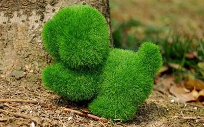 Собачка из искусственной травы
