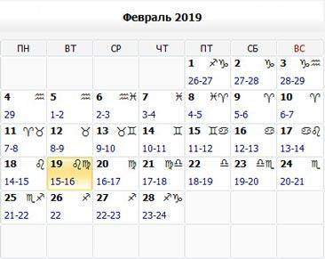 Лунный календарь. Народные приметы (февраль 2019)